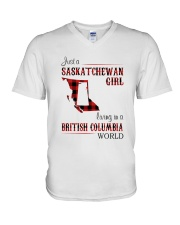 SASKATCHEWAN GIRL LIVING IN BC WORLD V-Neck T-Shirt thumbnail
