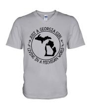 GEORGIA GIRL LIVING IN MICHIGAN WORLD V-Neck T-Shirt thumbnail