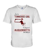 TENNESSEE GIRL LIVING IN MASSACHUSETTS WORLD V-Neck T-Shirt thumbnail
