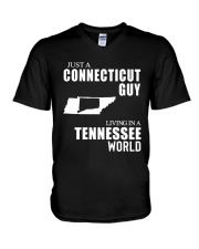 JUST A CONNECTICUT GUY LIVING IN TENNESSEE WORLD V-Neck T-Shirt thumbnail