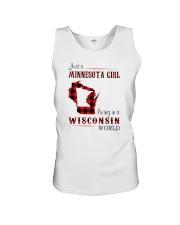 MINNESOTA GIRL LIVING IN WISCONSIN WORLD Unisex Tank thumbnail