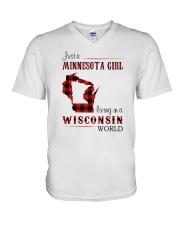 MINNESOTA GIRL LIVING IN WISCONSIN WORLD V-Neck T-Shirt thumbnail