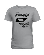 JUST A NEBRASKA GIRL IN A TENNESSEE WORLD Ladies T-Shirt front