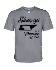 JUST A NEBRASKA GIRL IN A TENNESSEE WORLD V-Neck T-Shirt thumbnail