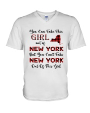 YOU CAN'T TAKE NEW YORK OUT OF THIS  GIRL V-Neck T-Shirt thumbnail