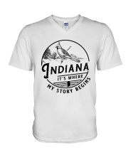 INDIANA IT'S WHERE MY STORY BEGINS V-Neck T-Shirt thumbnail