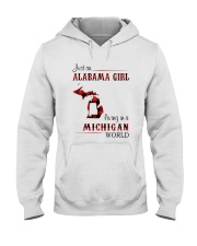 ALABAMA GIRL LIVING IN MICHIGAN WORLD Hooded Sweatshirt thumbnail