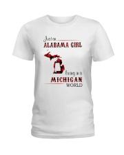 ALABAMA GIRL LIVING IN MICHIGAN WORLD Ladies T-Shirt thumbnail