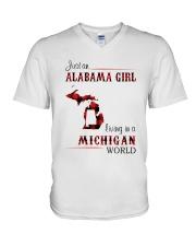 ALABAMA GIRL LIVING IN MICHIGAN WORLD V-Neck T-Shirt thumbnail