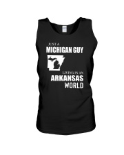 JUST A MICHIGAN GUY LIVING IN ARKANSAS WORLD Unisex Tank thumbnail