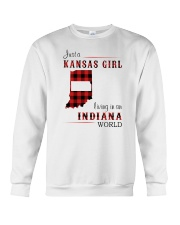 KANSAS GIRL LIVING IN INDIANA WORLD Crewneck Sweatshirt thumbnail