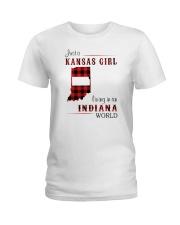KANSAS GIRL LIVING IN INDIANA WORLD Ladies T-Shirt thumbnail