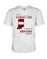 KANSAS GIRL LIVING IN INDIANA WORLD V-Neck T-Shirt thumbnail