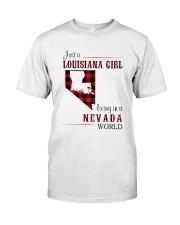 LOUISIANA GIRL LIVING IN NEVADA WORLD Classic T-Shirt front