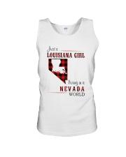 LOUISIANA GIRL LIVING IN NEVADA WORLD Unisex Tank thumbnail