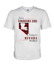 LOUISIANA GIRL LIVING IN NEVADA WORLD V-Neck T-Shirt thumbnail