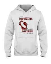 CALIFORNIA GIRL LIVING IN WISCONSIN WORLD Hooded Sweatshirt thumbnail