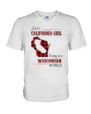 CALIFORNIA GIRL LIVING IN WISCONSIN WORLD V-Neck T-Shirt thumbnail