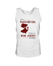 MARYLAND GIRL LIVING IN NEW JERSEY WORLD Unisex Tank thumbnail