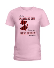 MARYLAND GIRL LIVING IN NEW JERSEY WORLD Ladies T-Shirt thumbnail