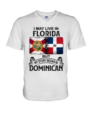 LIVE IN FLORIDA BEGAN IN DOMINICAN V-Neck T-Shirt thumbnail