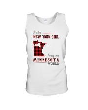 NEW YORK GIRL LIVING IN MINNESOTA WORLD Unisex Tank thumbnail
