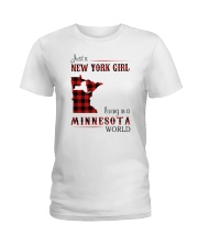 NEW YORK GIRL LIVING IN MINNESOTA WORLD Ladies T-Shirt thumbnail