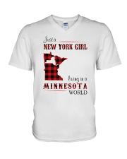 NEW YORK GIRL LIVING IN MINNESOTA WORLD V-Neck T-Shirt thumbnail