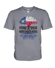 LIVING IN TEXAS WITH NORTH DAKOTA ROOTS V-Neck T-Shirt thumbnail