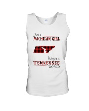 MICHIGAN GIRL LIVING IN TENNESSEE WORLD Unisex Tank tile