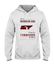 MICHIGAN GIRL LIVING IN TENNESSEE WORLD Hooded Sweatshirt tile