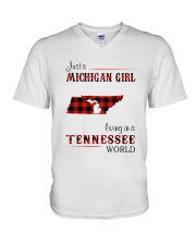 MICHIGAN GIRL LIVING IN TENNESSEE WORLD V-Neck T-Shirt tile