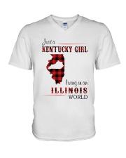 KENTUCKY GIRL LIVING IN ILLINOIS WORLD V-Neck T-Shirt thumbnail