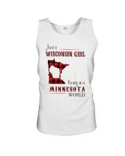 WISCONSIN GIRL LIVING IN MINNESOTA WORLD Unisex Tank thumbnail