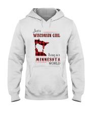 WISCONSIN GIRL LIVING IN MINNESOTA WORLD Hooded Sweatshirt thumbnail
