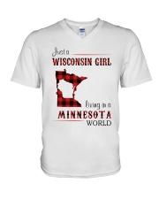 WISCONSIN GIRL LIVING IN MINNESOTA WORLD V-Neck T-Shirt thumbnail