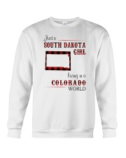 SOUTH DAKOTA GIRL LIVING IN COLORADO WORLD Crewneck Sweatshirt thumbnail