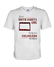 SOUTH DAKOTA GIRL LIVING IN COLORADO WORLD V-Neck T-Shirt thumbnail
