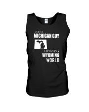 JUST A MICHIGAN GUY LIVING IN WYOMING WORLD Unisex Tank thumbnail