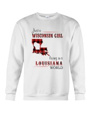 WISCONSIN GIRL LIVING IN LOUISIANA WORLD Crewneck Sweatshirt tile