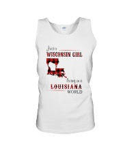 WISCONSIN GIRL LIVING IN LOUISIANA WORLD Unisex Tank thumbnail