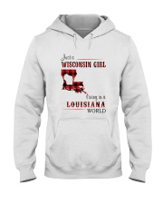 WISCONSIN GIRL LIVING IN LOUISIANA WORLD Hooded Sweatshirt tile