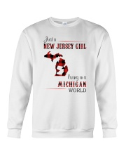 JERSEY GIRL LIVING IN MICHIGAN WORLD Crewneck Sweatshirt thumbnail