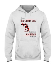 JERSEY GIRL LIVING IN MICHIGAN WORLD Hooded Sweatshirt thumbnail