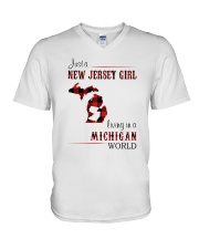 JERSEY GIRL LIVING IN MICHIGAN WORLD V-Neck T-Shirt thumbnail