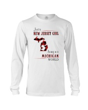 JERSEY GIRL LIVING IN MICHIGAN WORLD Long Sleeve Tee thumbnail