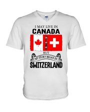 LIVE IN CANADA BEGAN IN SWITZERLAND ROOT V-Neck T-Shirt thumbnail
