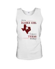 ALASKA GIRL LIVING IN TEXAS WORLD Unisex Tank thumbnail