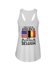 LIVE IN AMERICA BEGAN IN BELGIUM Ladies Flowy Tank thumbnail