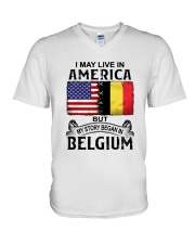 LIVE IN AMERICA BEGAN IN BELGIUM V-Neck T-Shirt thumbnail